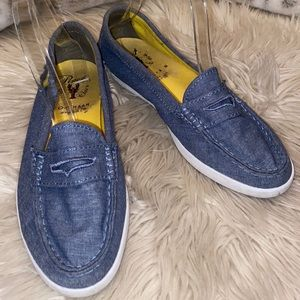 COLE HAAN penny loafer denim chambray yellow tag
